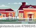 House in flood deluge water flow in street 47990345