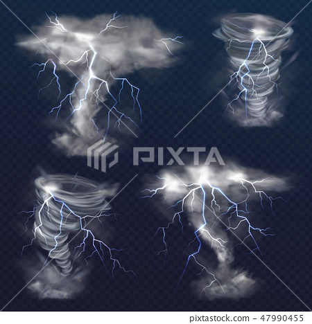 Lightning in tornado twister realistic storm 47990455