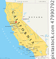California, United States, political map 47990792