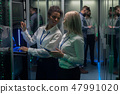 Two women are working in a data center with rows of server racks 47991020