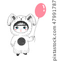 Cute girl in a rabbit costume holding a balloon.  47991787