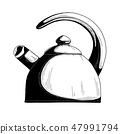 Realistic sketch of the kettle. Vector 47991794