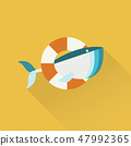 Cute Whale in Rescue Floating Ring. Vector Illustration. 47992365