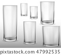 Glass glasses empty. Set of vector realistic illustrations, isolated icons. 47992535