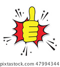 Thumb up cartoon comic design 47994344
