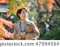 女孩的旅行秋天秋天綠葉旅行圖像 47994564