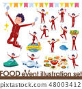flat type school boy red jersey_food festival 48003412