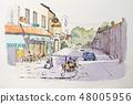 ぺん彩画 수채화 풍경화 유럽의 거리 풍경 48005956