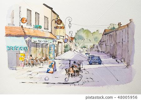 小繪畫水彩畫山水畫歐洲城市景觀 48005956