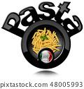 Black Symbol of Italian Pasta called Penne 48005993