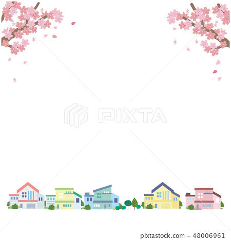 Cherry Blossoms and Townscape Illustration Vector 48006961