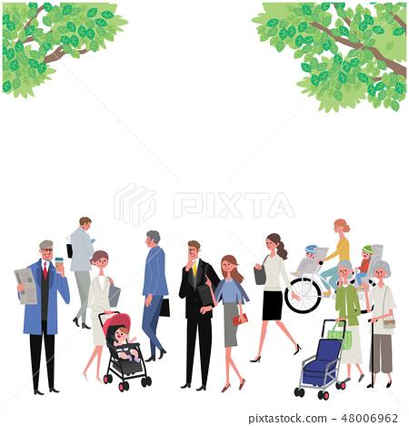 Fresh green and people illustration design 48006962