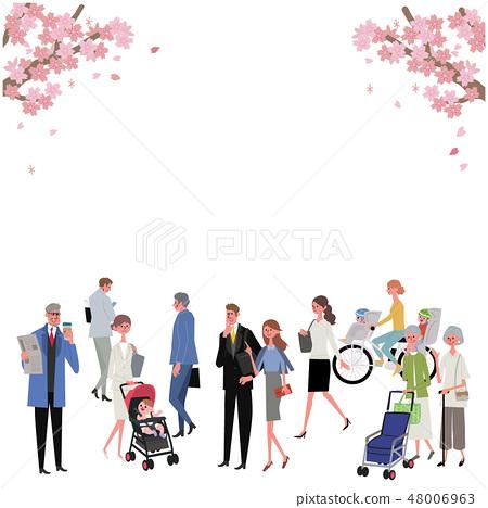 사람들과 벚꽃 봄 거리 일러스트 48006963