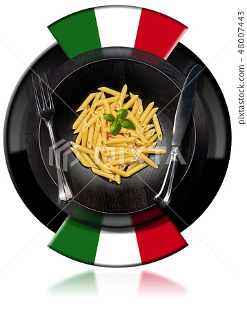 Symbol of Italian Pasta called Penne and flags 48007443
