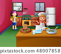 Happy cooking with sister and brother 48007858