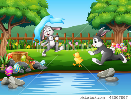 Cartoon rabbit running and playing on the nature 48007897