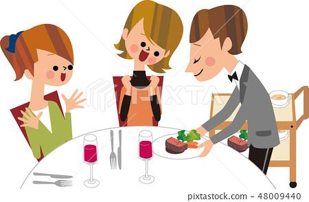 女性朋友和晚餐 48009440