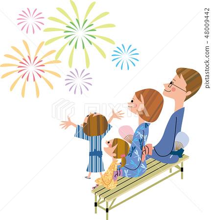 가족에서 불꽃 놀이 구경 48009442
