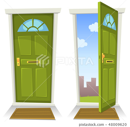 Cartoon Green Door, Open And Closed 48009620