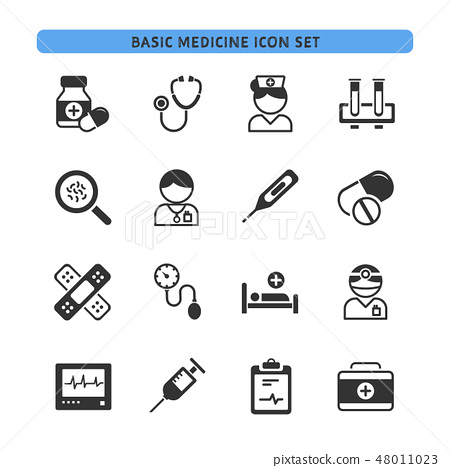 Basic medicine icons set 48011023