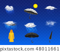 Rainy weather forecast icons realistic vector set 48011661