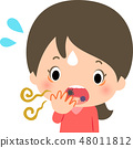A young lady surprised by bad breath 48011812