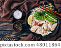 soup Pho Ga with chicken breast, flatlay 48011864