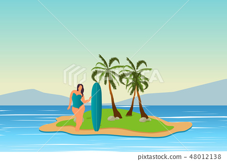 Tropical landscape. Sea landscape. Summer background. Girl with surfing board. Flat style 48012138