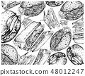 Hand Drawn Background of Hamburgers and Sandwiches 48012247