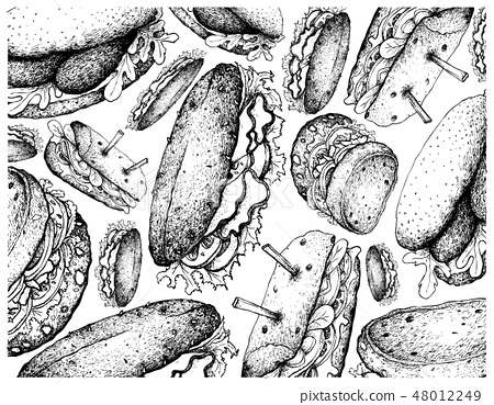 Wallpaper Background of Various Sandwiches 48012249