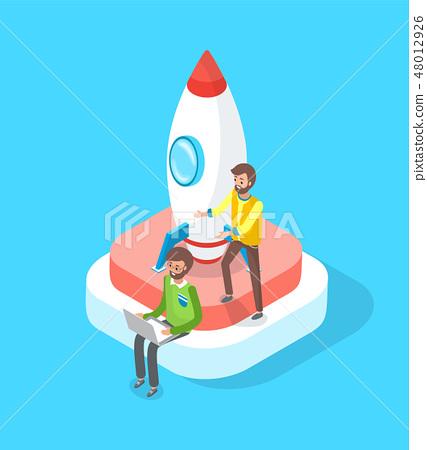 Launching Rocket, Start Up of People, Teamwork 48012926