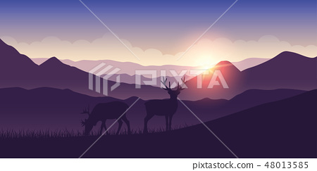 two wildlife reindeers on purple mountain landscape at sunrise 48013585