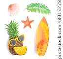 Summer Time Icons Set Closeup Vector Illustration 48015278
