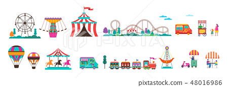 Amusement park with carousels, air balloons and roller coaster. Circus, Fun fair and Carnival icon 48016986