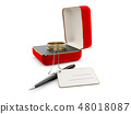 3d Illustration of red jewelry box with ring isolated on white 48018087