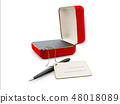 3d Illustration of red jewelry box isolated on white 48018089