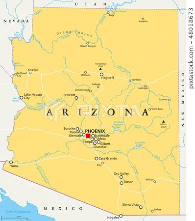 Arizona, United States, political map 48018673