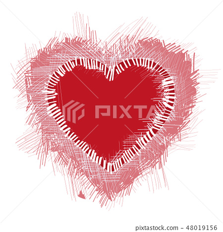 Illustration with a red valentine heart 48019156