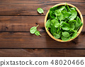 Fresh spinach leaves on wooden background 48020466