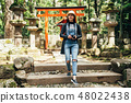 woman in spring walking down stairs in nara park 48022438