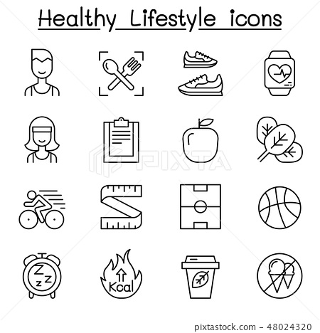 Loss weight, diet, healthy life style icon set 48024320