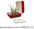 3d Illustration of red jewelry box with crown isolated on white 48026122