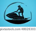 Jet ski action graphic vector. 48026303