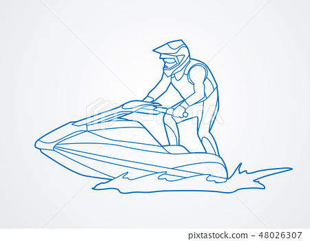 Jet ski action graphic vector. 48026307