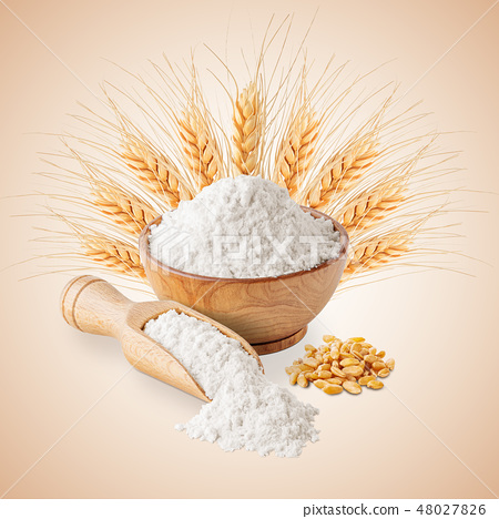 Bowl of white wheat flour and ears isolated 48027826