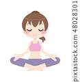 一个冥想Yasura姿势的女人 48028301