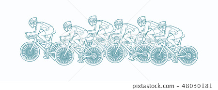 Group of Bicycle riding shape graphic vector. 48030181