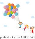 一个孩子与气球飞行 48030743