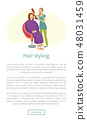 Hair Styling Poster Woman Sitting and Hairdresser 48031459