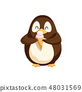 Penguin Happily Eating Ice Cream in Cone Vector 48031569